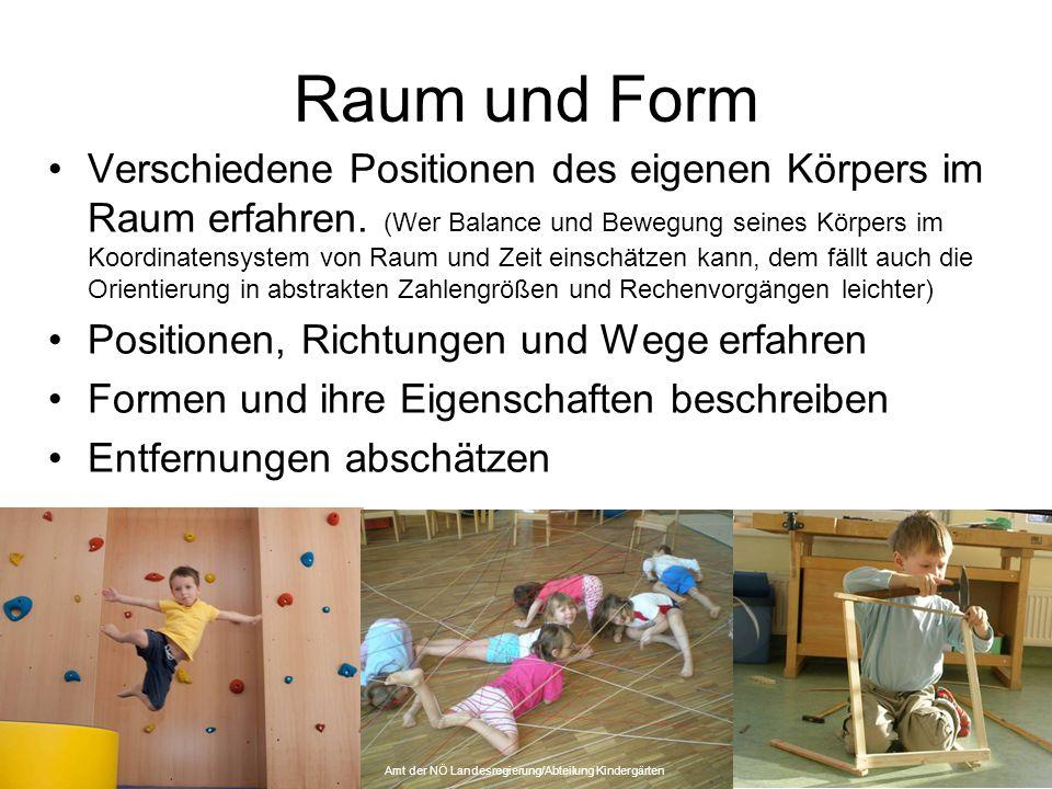 Raum und Form Verschiedene Positionen des eigenen Körpers im Raum erfahren.