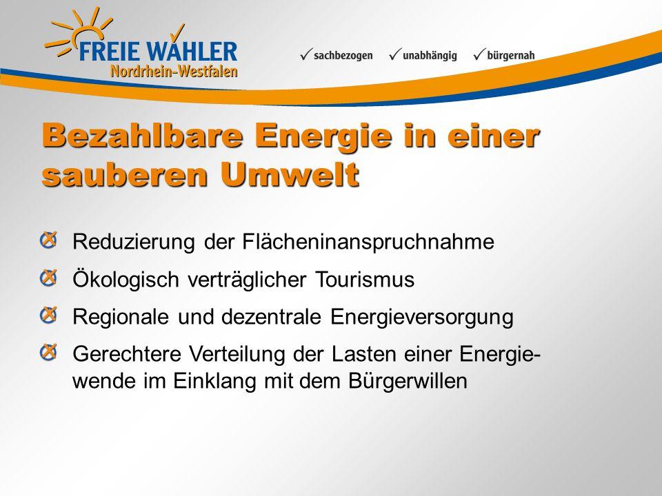 Bezahlbare Energie in einer sauberen Umwelt Reduzierung der Flächeninanspruchnahme Ökologisch verträglicher Tourismus Regionale und dezentrale Energie