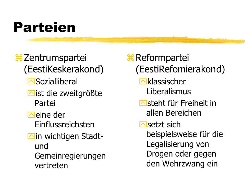 Parteien zZentrumspartei (EestiKeskerakond) ySozialliberal yist die zweitgrößte Partei yeine der Einflussreichsten yin wichtigen Stadt- und Gemeinregi