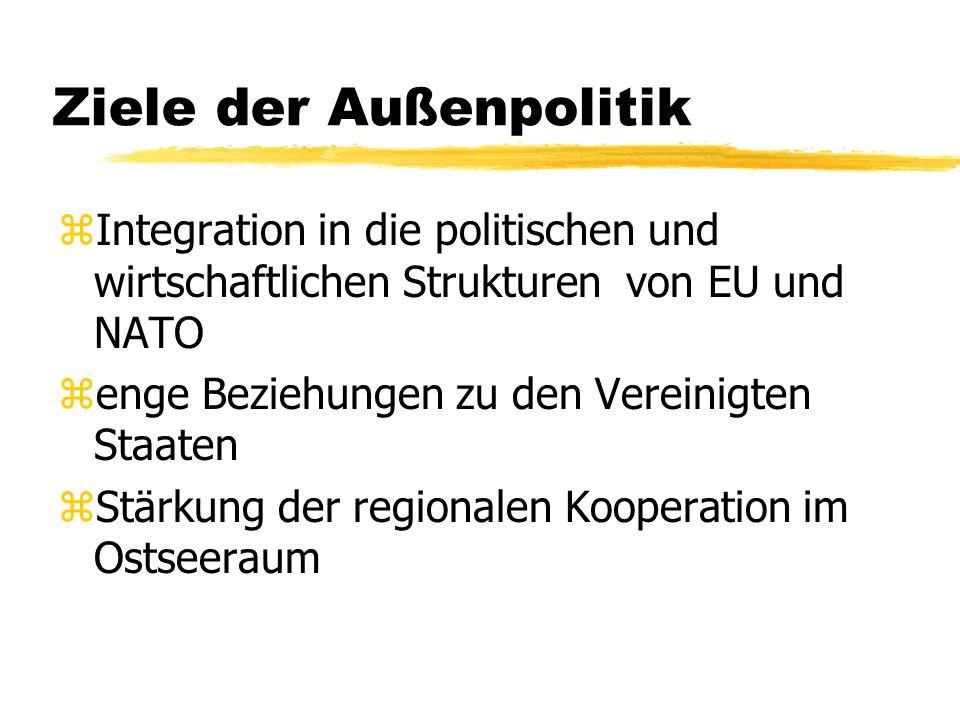 Ziele der Außenpolitik zIntegration in die politischen und wirtschaftlichen Strukturen von EU und NATO zenge Beziehungen zu den Vereinigten Staaten zS