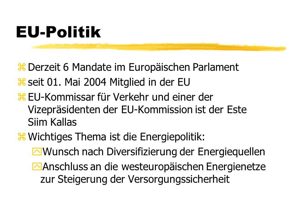 EU-Politik zDerzeit 6 Mandate im Europäischen Parlament zseit 01. Mai 2004 Mitglied in der EU zEU-Kommissar für Verkehr und einer der Vizepräsidenten