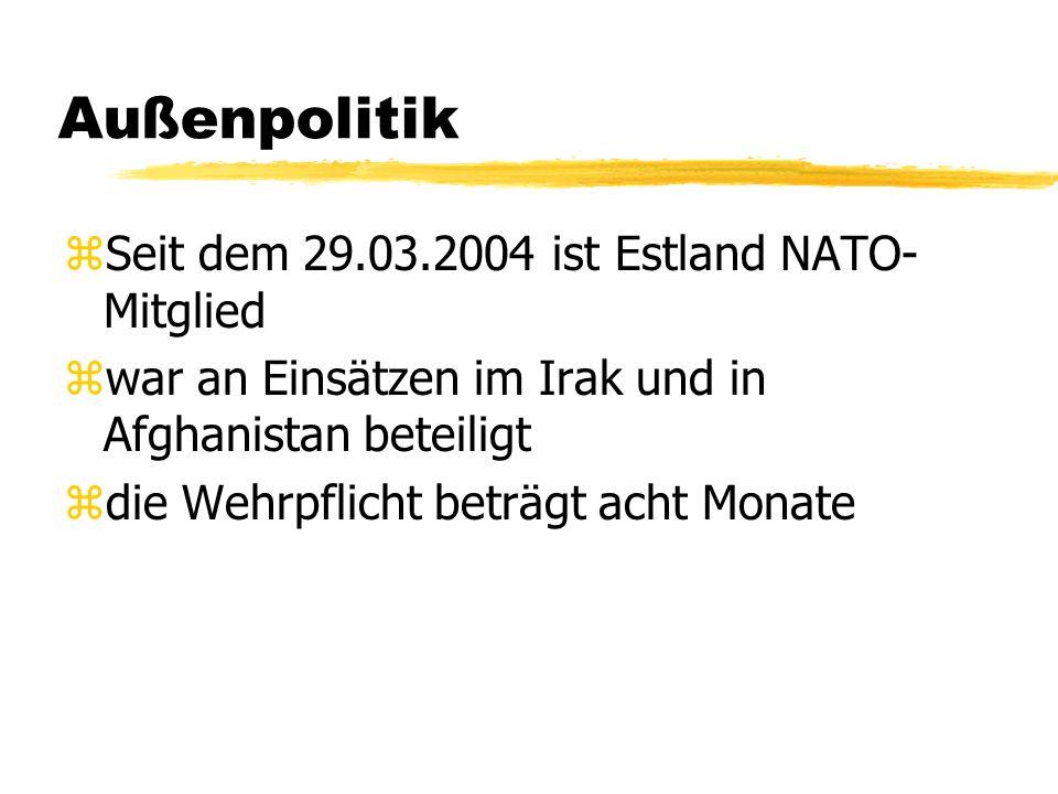 Außenpolitik zSeit dem 29.03.2004 ist Estland NATO- Mitglied zwar an Einsätzen im Irak und in Afghanistan beteiligt zdie Wehrpflicht beträgt acht Mona