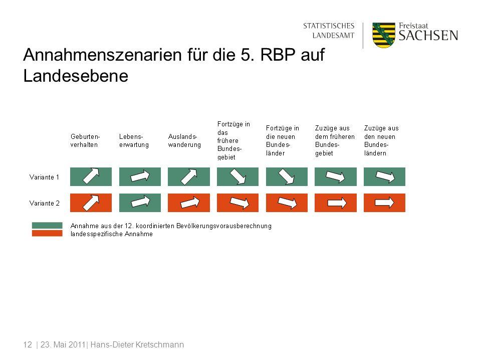 | 23. Mai 2011| Hans-Dieter Kretschmann12 Annahmenszenarien für die 5. RBP auf Landesebene