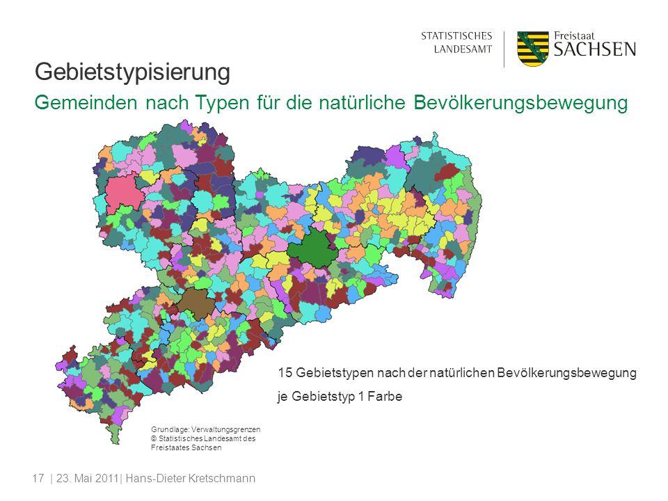 | 23. Mai 2011| Hans-Dieter Kretschmann17 Gebietstypisierung 15 Gebietstypen nach der natürlichen Bevölkerungsbewegung je Gebietstyp 1 Farbe Grundlage