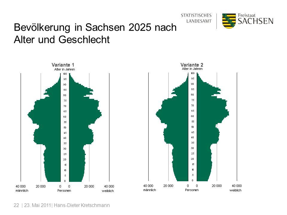 | 23. Mai 2011| Hans-Dieter Kretschmann22 Variante 1Variante 2 Bevölkerung in Sachsen 2025 nach Alter und Geschlecht