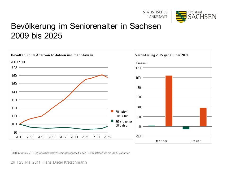 | 23. Mai 2011| Hans-Dieter Kretschmann29 Bevölkerung im Seniorenalter in Sachsen 2009 bis 2025 _____ 2010 bis 2025 – 5. Regionalisierte Bevölkerungsp