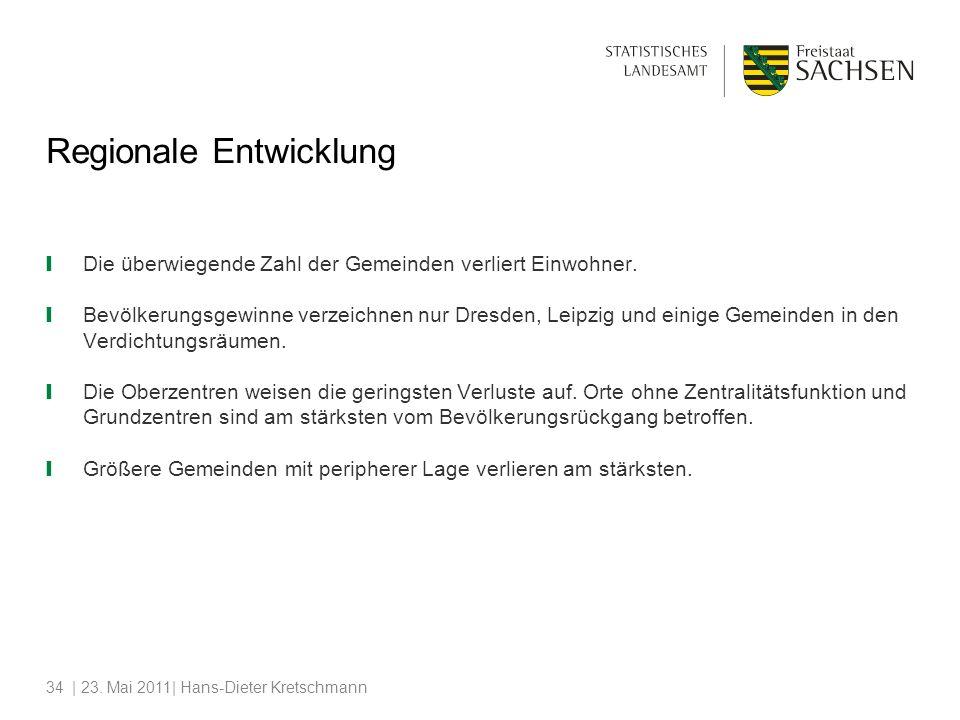 | 23. Mai 2011| Hans-Dieter Kretschmann34 Die überwiegende Zahl der Gemeinden verliert Einwohner. Bevölkerungsgewinne verzeichnen nur Dresden, Leipzig