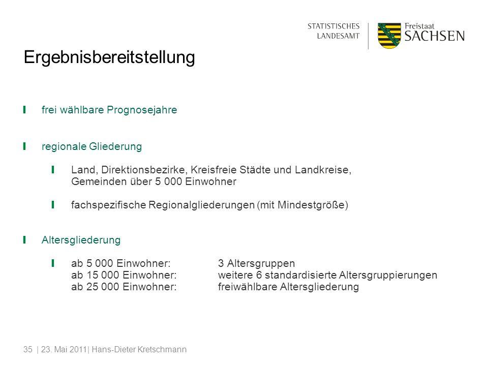 | 23. Mai 2011| Hans-Dieter Kretschmann35 Ergebnisbereitstellung frei wählbare Prognosejahre regionale Gliederung Land, Direktionsbezirke, Kreisfreie