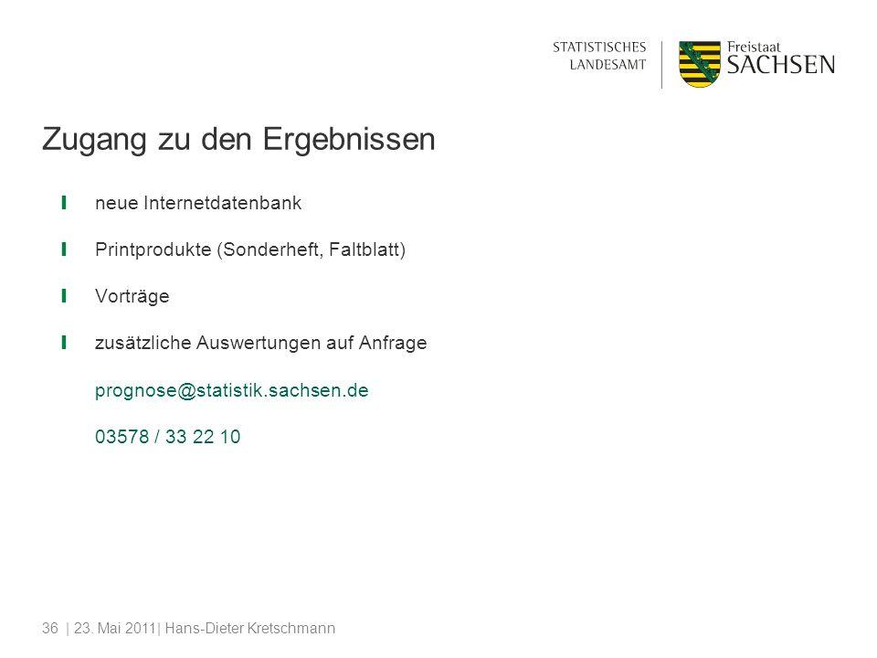 | 23. Mai 2011| Hans-Dieter Kretschmann36 Zugang zu den Ergebnissen neue Internetdatenbank Printprodukte (Sonderheft, Faltblatt) Vorträge zusätzliche