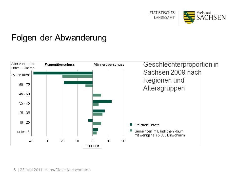 | 23. Mai 2011| Hans-Dieter Kretschmann6 Folgen der Abwanderung Geschlechterproportion in Sachsen 2009 nach Regionen und Altersgruppen