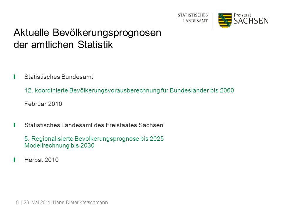 | 23. Mai 2011| Hans-Dieter Kretschmann8 Aktuelle Bevölkerungsprognosen der amtlichen Statistik Statistisches Bundesamt 12. koordinierte Bevölkerungsv