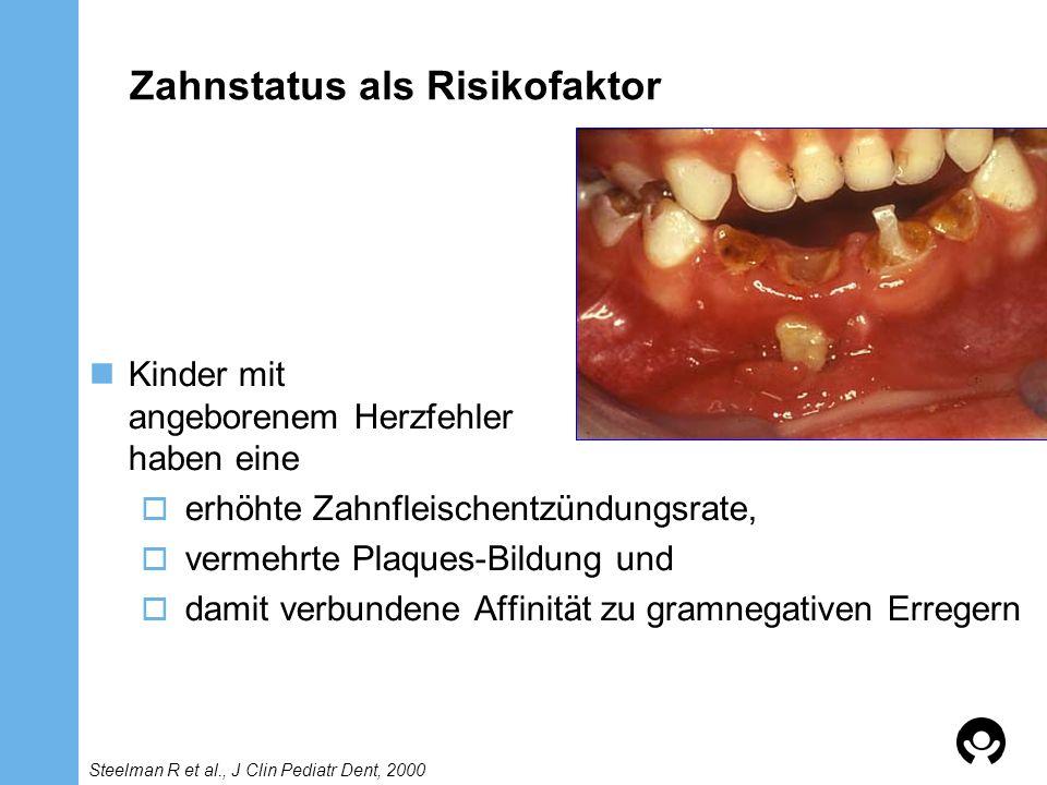Zahnstatus als Risikofaktor Kinder mit angeborenem Herzfehler haben eine erhöhte Zahnfleischentzündungsrate, vermehrte Plaques-Bildung und damit verbu