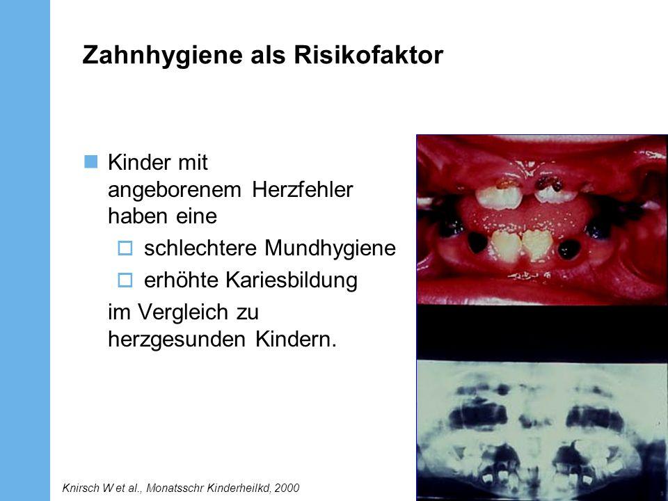 Zahnhygiene als Risikofaktor Kinder mit angeborenem Herzfehler haben eine schlechtere Mundhygiene erhöhte Kariesbildung im Vergleich zu herzgesunden K