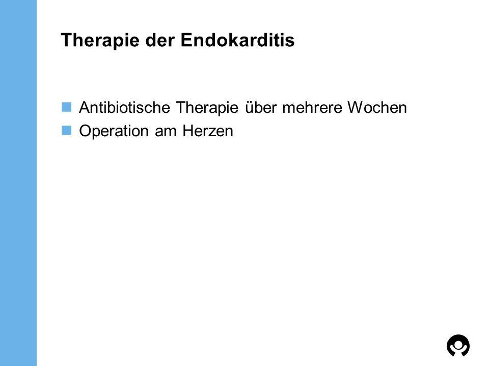 Therapie der Endokarditis Antibiotische Therapie über mehrere Wochen Operation am Herzen