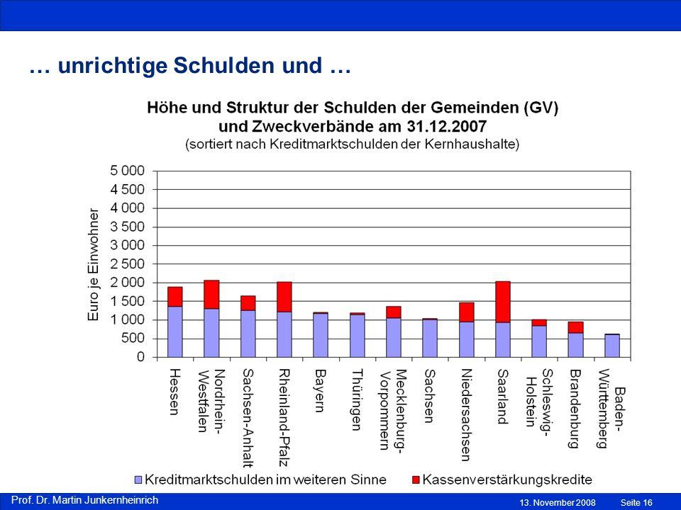Prof. Dr. Martin Junkernheinrich … unrichtige Schulden und … 13. November 2008Seite 16
