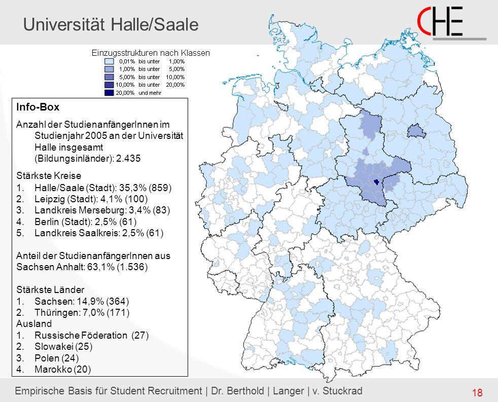 Empirische Basis für Student Recruitment | Dr. Berthold | Langer | v. Stuckrad 18 Universität Halle/Saale Info-Box Anzahl der StudienanfängerInnen im