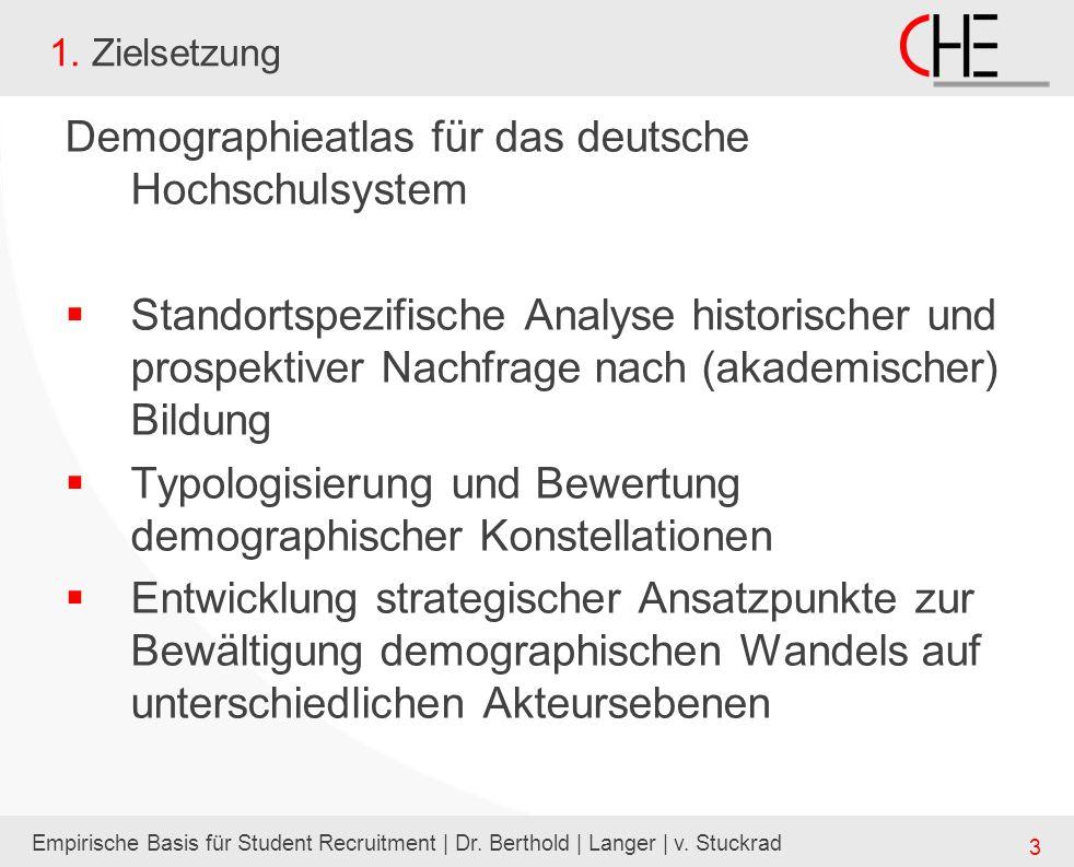 Empirische Basis für Student Recruitment | Dr. Berthold | Langer | v. Stuckrad 3 1. Zielsetzung Demographieatlas für das deutsche Hochschulsystem Stan
