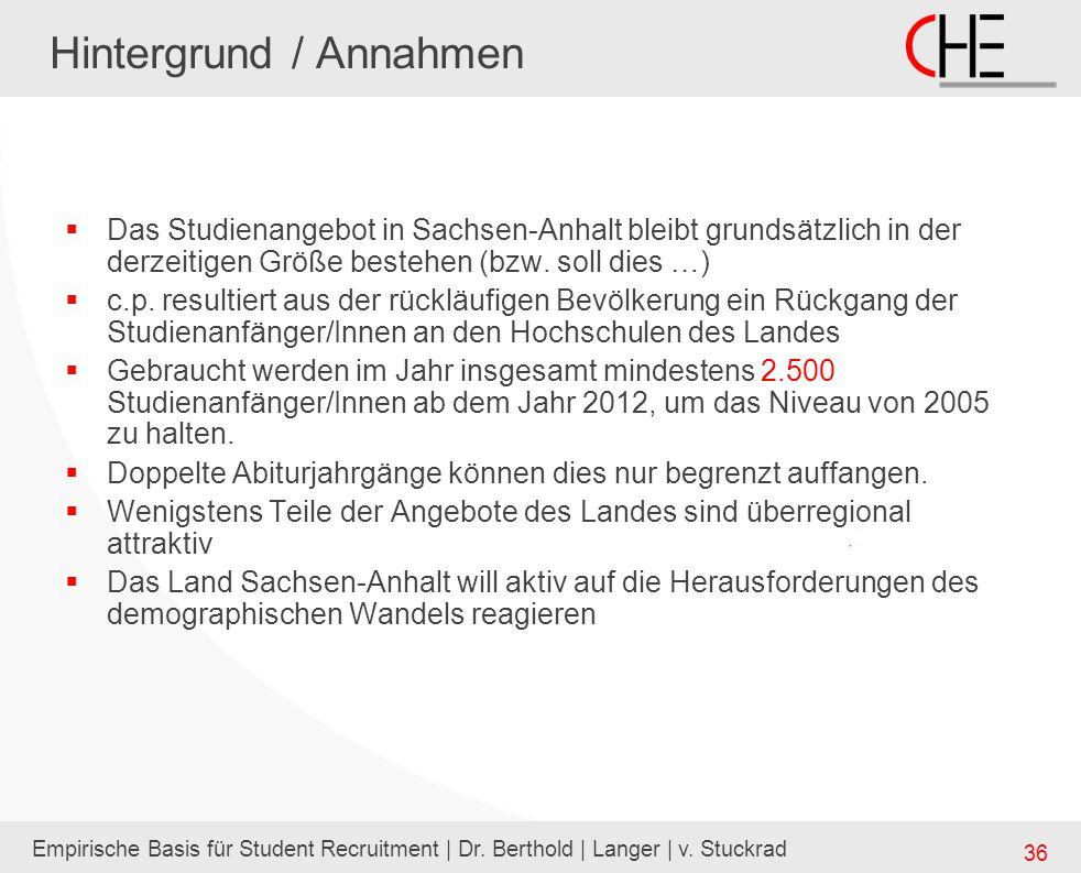 Empirische Basis für Student Recruitment | Dr. Berthold | Langer | v. Stuckrad 36 Hintergrund / Annahmen Das Studienangebot in Sachsen-Anhalt bleibt g