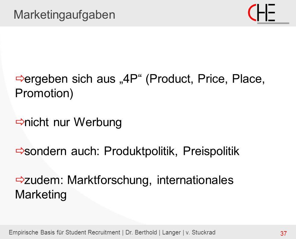 Empirische Basis für Student Recruitment | Dr. Berthold | Langer | v. Stuckrad 37 Marketingaufgaben ergeben sich aus 4P (Product, Price, Place, Promot