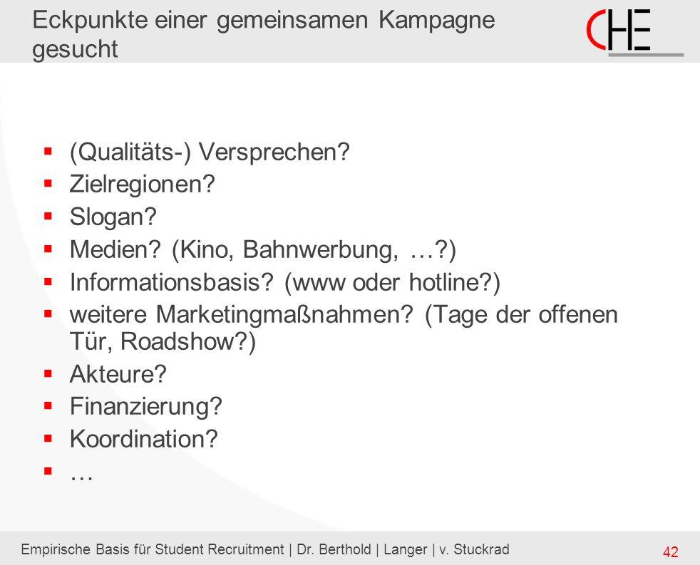 Empirische Basis für Student Recruitment | Dr. Berthold | Langer | v. Stuckrad 42 Eckpunkte einer gemeinsamen Kampagne gesucht (Qualitäts-) Verspreche