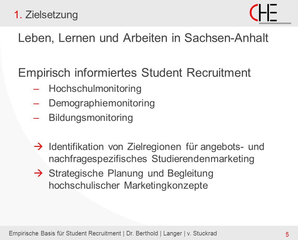 Empirische Basis für Student Recruitment | Dr. Berthold | Langer | v. Stuckrad 5 1. Zielsetzung Leben, Lernen und Arbeiten in Sachsen-Anhalt Empirisch