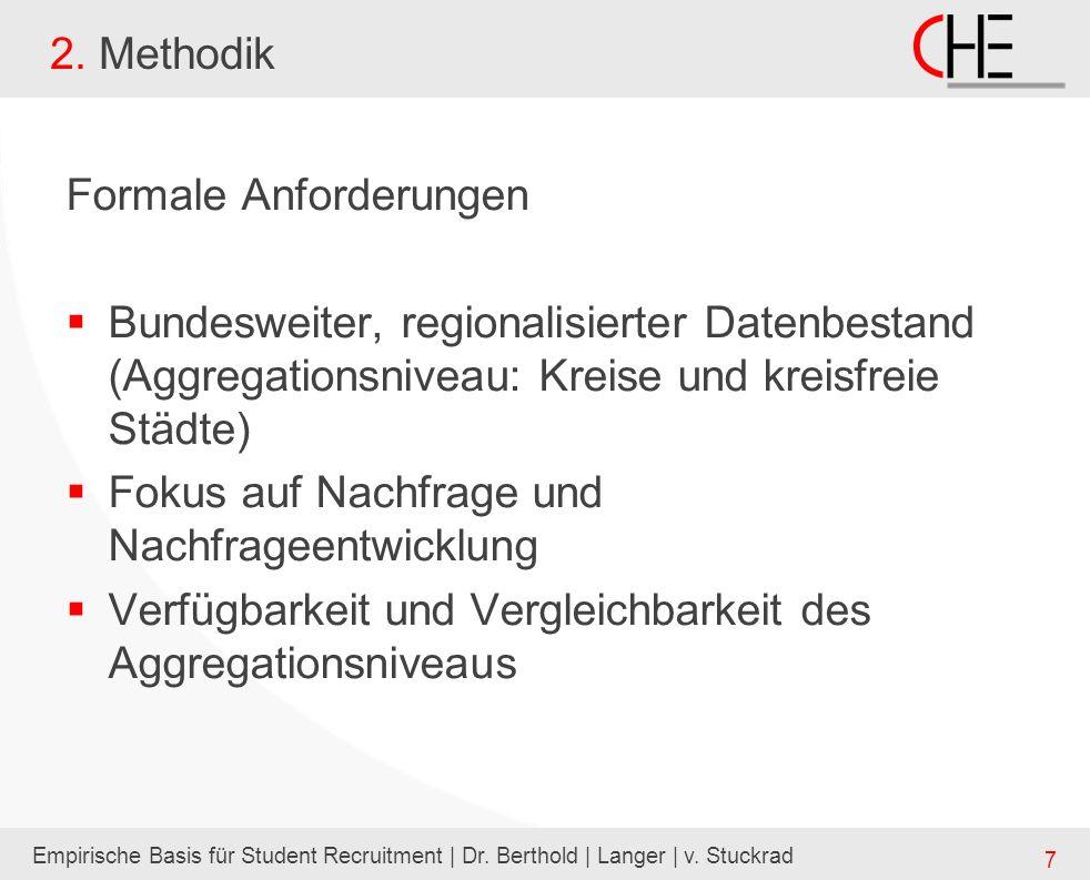Empirische Basis für Student Recruitment | Dr. Berthold | Langer | v. Stuckrad 7 2. Methodik Formale Anforderungen Bundesweiter, regionalisierter Date