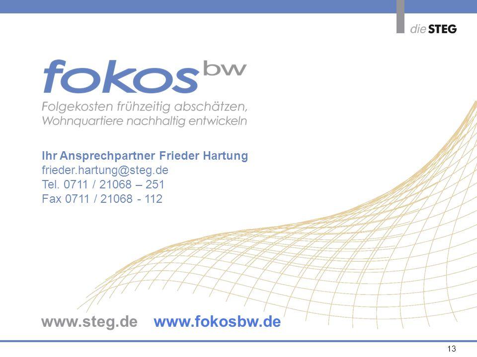 13 Ihr Ansprechpartner Frieder Hartung frieder.hartung@steg.de Tel. 0711 / 21068 – 251 Fax 0711 / 21068 - 112 www.steg.dewww.fokosbw.de