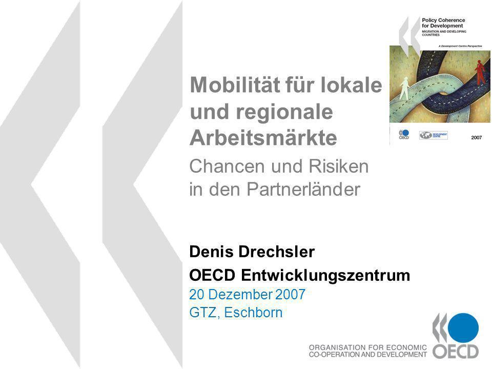 Mobilität für lokale und regionale Arbeitsmärkte 20 Dezember 2007 GTZ, Eschborn Denis Drechsler OECD Entwicklungszentrum Chancen und Risiken in den Partnerländer