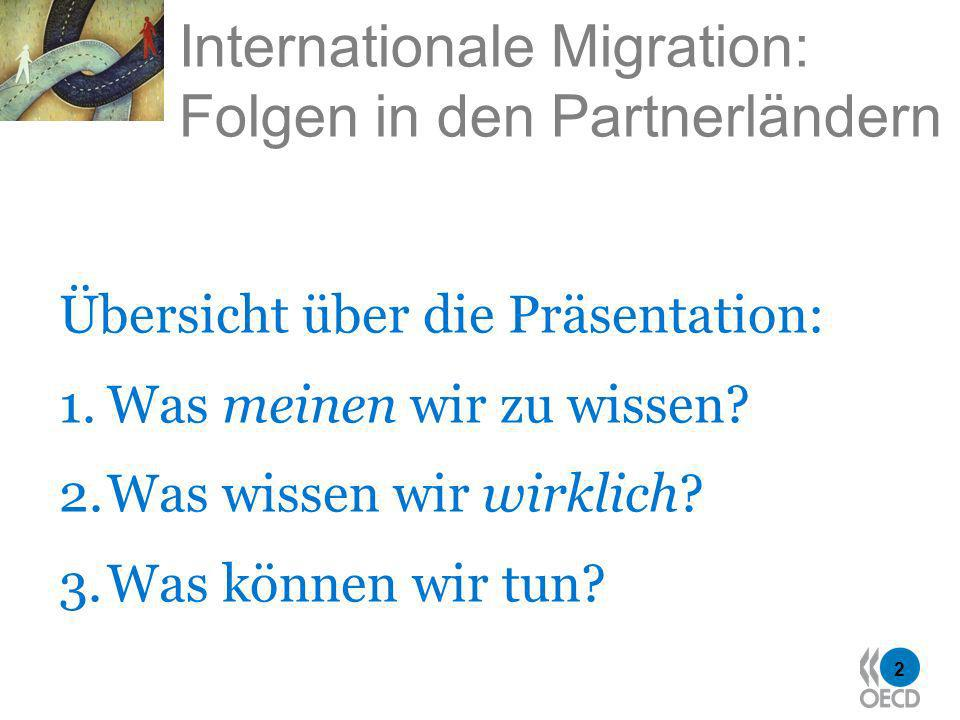 2 Internationale Migration: Folgen in den Partnerländern Übersicht über die Präsentation: 1.Was meinen wir zu wissen.