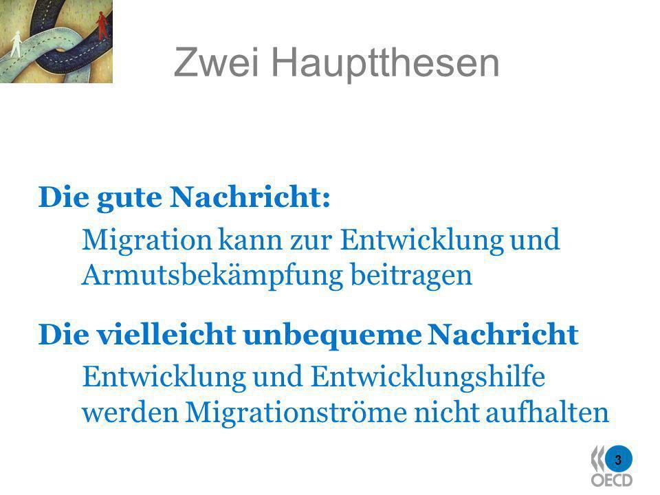 3 Zwei Hauptthesen Die gute Nachricht: Migration kann zur Entwicklung und Armutsbekämpfung beitragen Die vielleicht unbequeme Nachricht Entwicklung und Entwicklungshilfe werden Migrationströme nicht aufhalten