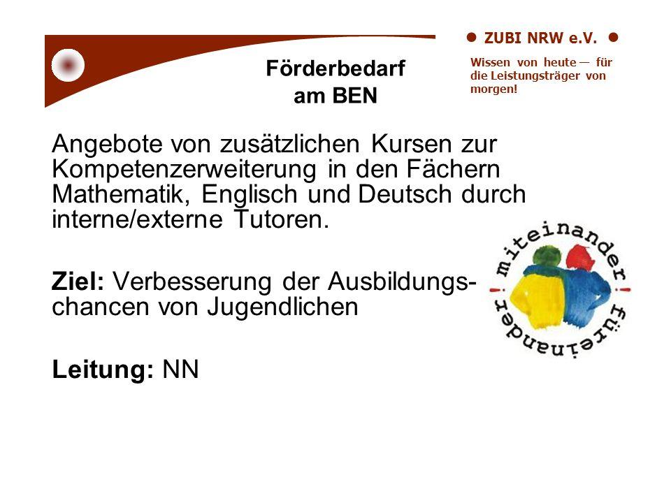 ZUBI NRW e.V. Wissen von heute für die Leistungsträger von morgen! Angebote von zusätzlichen Kursen zur Kompetenzerweiterung in den Fächern Mathematik