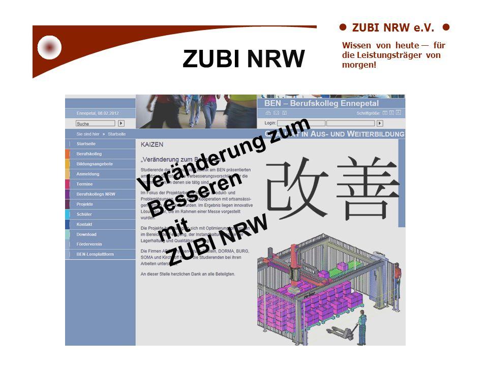 ZUBI NRW e.V. Wissen von heute für die Leistungsträger von morgen! ZUBI NRW Veränderung zum Besseren mit ZUBI NRW