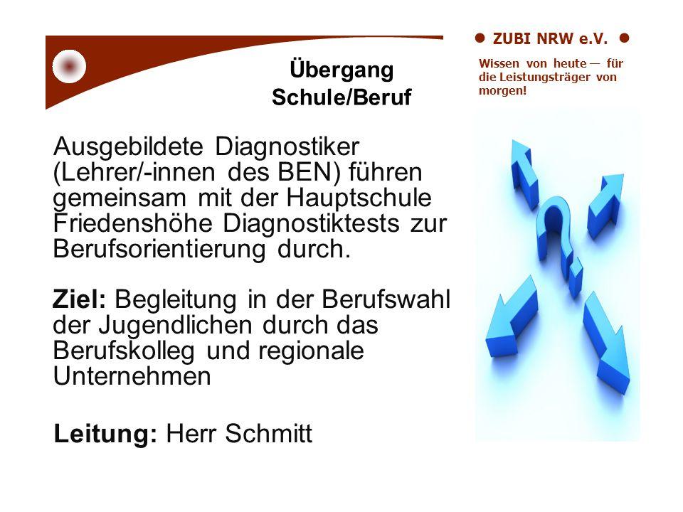 ZUBI NRW e.V. Wissen von heute für die Leistungsträger von morgen! Übergang Schule/Beruf Ausgebildete Diagnostiker (Lehrer/-innen des BEN) führen geme