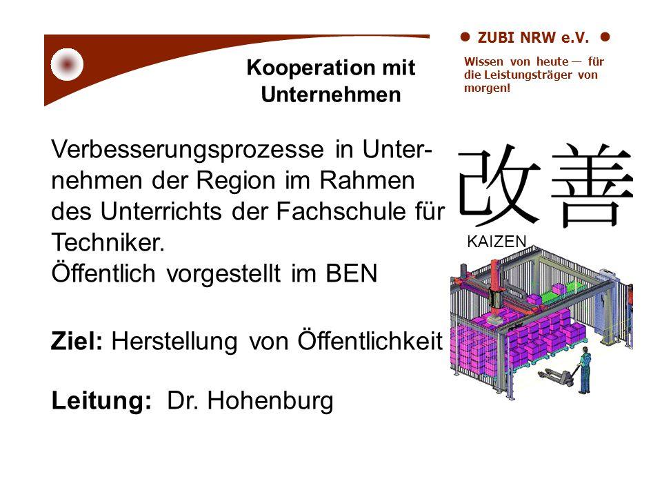 ZUBI NRW e.V. Wissen von heute für die Leistungsträger von morgen! Kooperation mit Unternehmen Verbesserungsprozesse in Unter- nehmen der Region im Ra