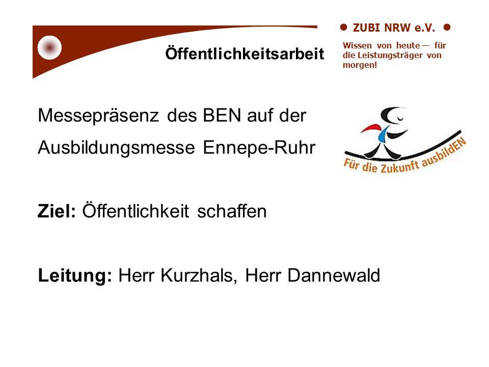 ZUBI NRW e.V. Wissen von heute für die Leistungsträger von morgen! Messepräsenz des BEN auf der Ausbildungsmesse Ennepe-Ruhr Ziel: Öffentlichkeit scha