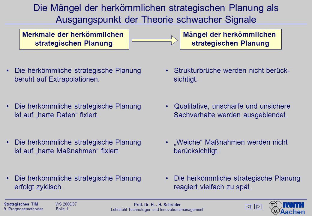 Aachen 9 Prognosemethoden Folie 32 Strategisches TIM WS 2006/07 Prof.