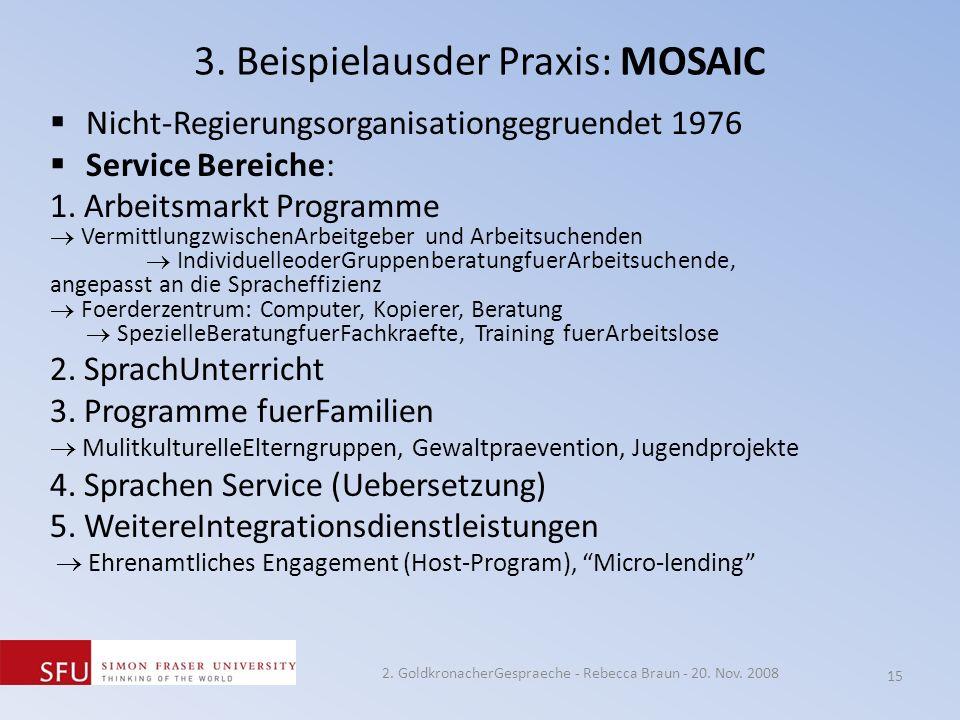 3. Beispielausder Praxis: MOSAIC Nicht-Regierungsorganisationgegruendet 1976 Service Bereiche: 1. Arbeitsmarkt Programme VermittlungzwischenArbeitgebe