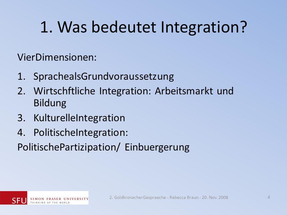 1. Was bedeutet Integration? VierDimensionen: 1.SprachealsGrundvoraussetzung 2.Wirtschftliche Integration: Arbeitsmarkt und Bildung 3.KulturelleIntegr