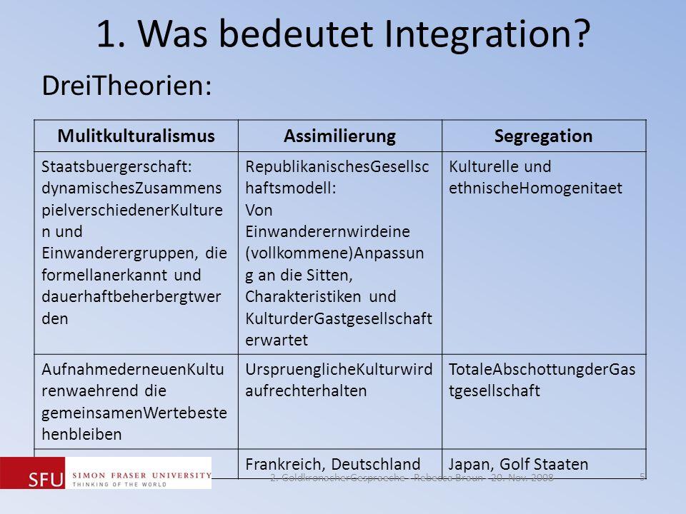 1. Was bedeutet Integration? DreiTheorien: MulitkulturalismusAssimilierungSegregation Staatsbuergerschaft: dynamischesZusammens pielverschiedenerKultu