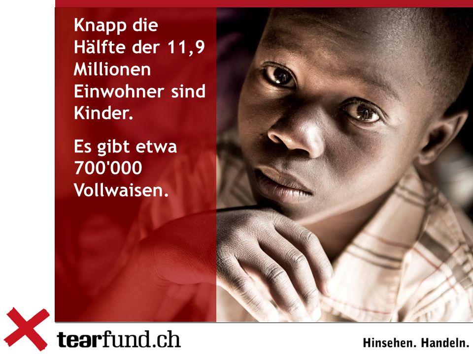Knapp die Hälfte der 11,9 Millionen Einwohner sind Kinder. Es gibt etwa 700 000 Vollwaisen.