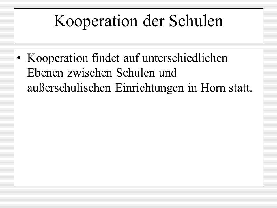 Kooperation der Schulen Kooperation findet auf unterschiedlichen Ebenen zwischen Schulen und außerschulischen Einrichtungen in Horn statt.