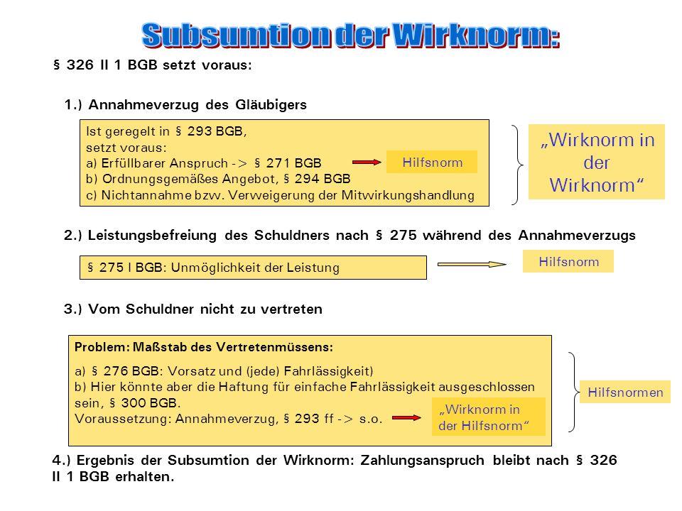 I. Anspruchsentstehung: Zustandekommen eines Kaufvertrags Hilfsnormen 1.) Angebot, § 145 ff BGB 2.) Annahme, §145 ff BGB Rechtsfolge von § 326 II 1:..