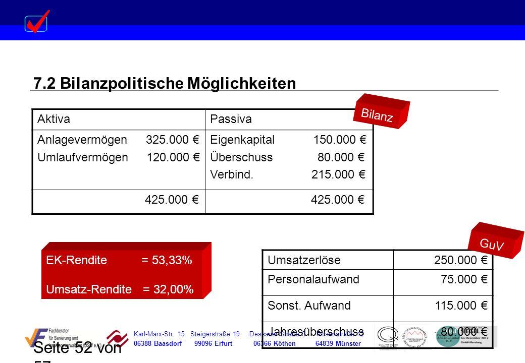 Karl-Marx-Str. 15 Steigerstraße 19 Dessauer Straße 5 Rosenstraße 12 06388 Baasdorf 99096 Erfurt 06366 Köthen 64839 Münster Seite 52 von 57 7.2 Bilanzp