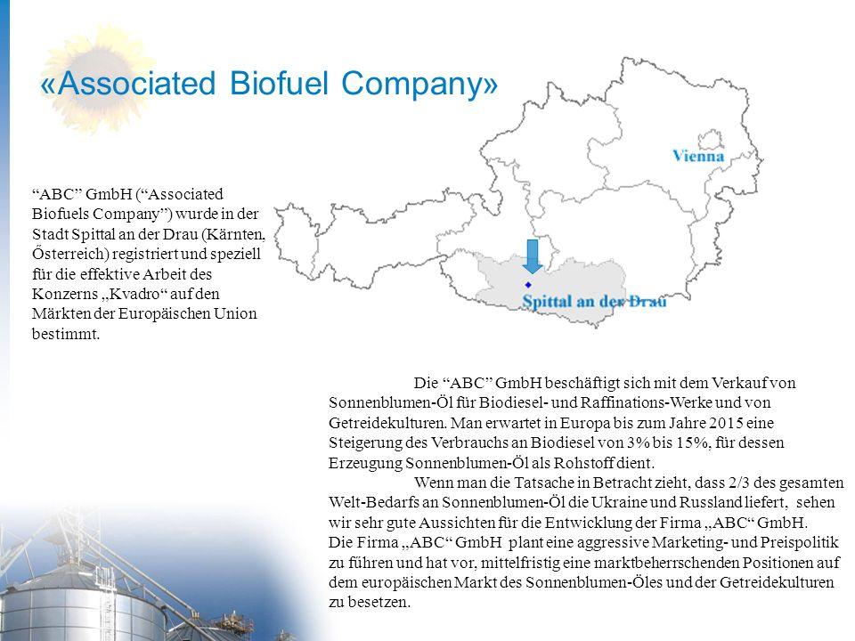 Die ABC GmbH beschäftigt sich mit dem Verkauf von Sonnenblumen-Öl für Biodiesel- und Raffinations-Werke und von Getreidekulturen.