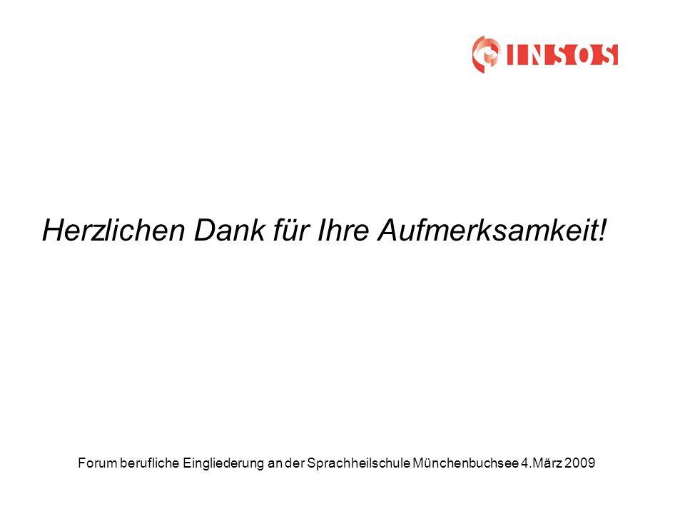Forum berufliche Eingliederung an der Sprachheilschule Münchenbuchsee 4.März 2009 Herzlichen Dank für Ihre Aufmerksamkeit!