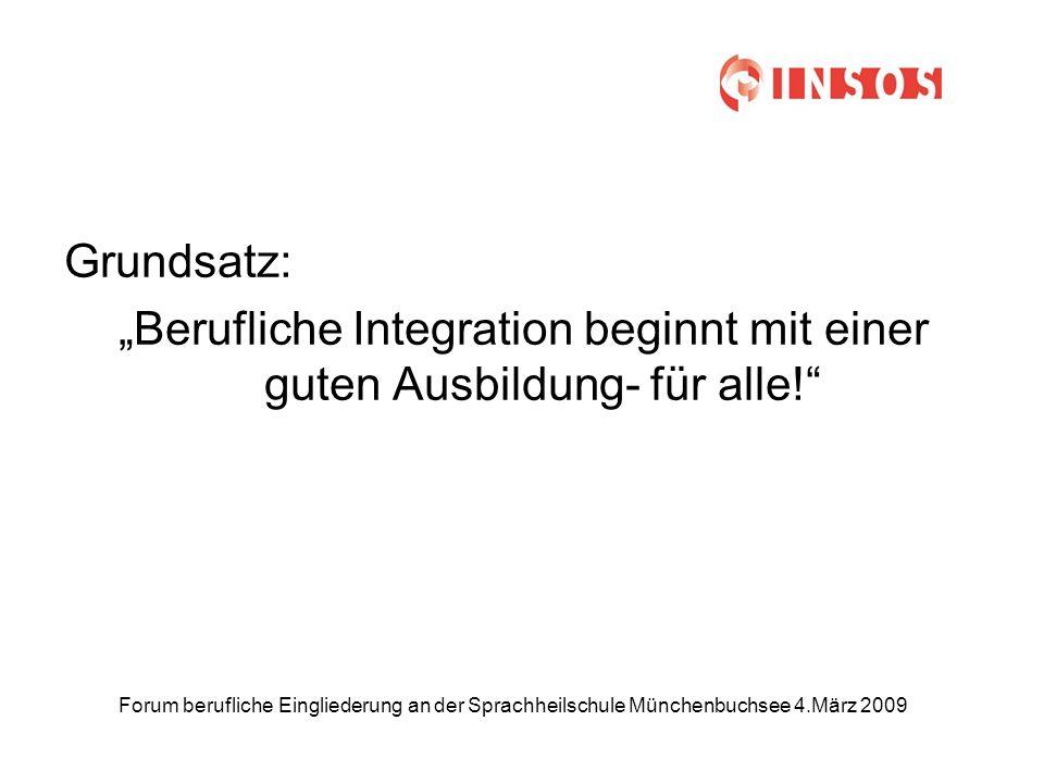 Forum berufliche Eingliederung an der Sprachheilschule Münchenbuchsee 4.März 2009 Grundsatz: Berufliche Integration beginnt mit einer guten Ausbildung- für alle!