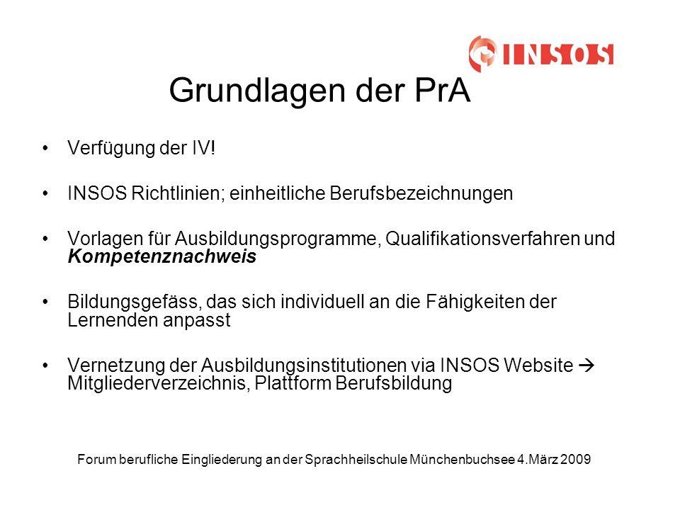 Forum berufliche Eingliederung an der Sprachheilschule Münchenbuchsee 4.März 2009 Grundlagen der PrA Verfügung der IV.