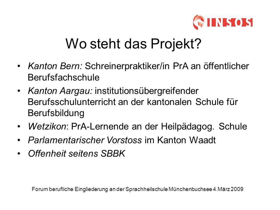 Forum berufliche Eingliederung an der Sprachheilschule Münchenbuchsee 4.März 2009 Wo steht das Projekt.