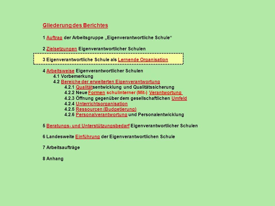 Gliederung des Berichtes 1 Auftrag der Arbeitsgruppe Eigenverantwortliche Schule 2 Zielsetzungen Eigenverantwortlicher Schulen 3 Eigenverantwortliche