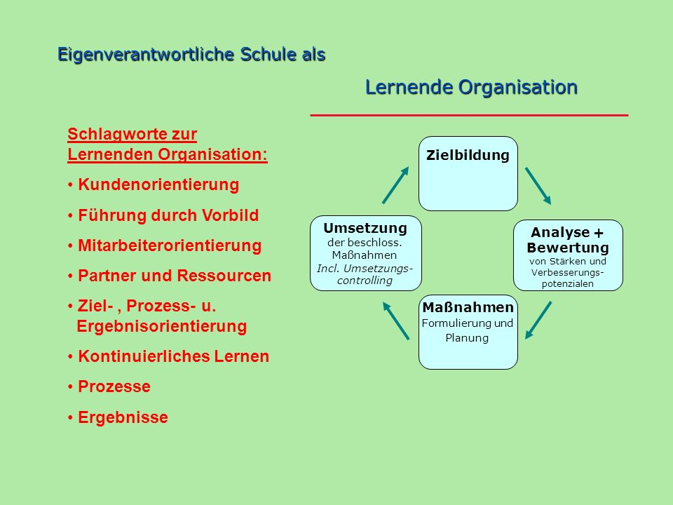 Zielbildung Analyse + Bewertung von Stärken und Verbesserungs- potenzialen Maßnahmen Formulierung und Planung Umsetzung der beschloss. Maßnahmen Incl.